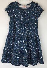 Hanna Andersson Girls Dress Sz 110 US 5 Bubble Dots Tiered Blue Cotton School