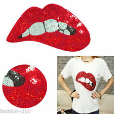 New Sequins Embroidered Patches for Clothing Red Lips Sewing DIY Motif Applique