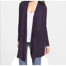 Barefoot Dream Navy Blue Bamboo Chic Lite Open Front Fuzzy Flowy Cardigan
