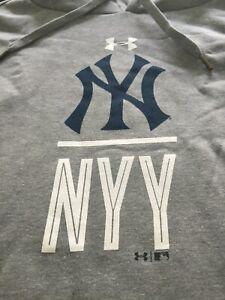 MENS UNDER ARMOUR MLB COLDGEAR NEW YORK YANKEES GRAY HOODIE 3XL NWT