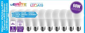 uBRITE A19 LED Light Bulb, Soft White 2700K 8W 60 Watt Equivalent 10 - Pack