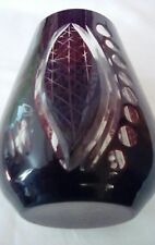 CRANBERRY CUT TO CLEAR GLASS VASE