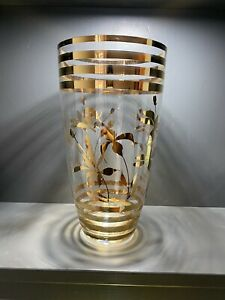 Vintage Mid Century Large Glass Vase Gold Gilding Floral Ringed