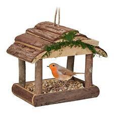 Vogelfutterhaus zum Aufhängen, Futterhäuschen Holz, Vogelfutterspender natürlich