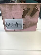 Pink Wooden Picture Frame W/ Baby Footprints - Lizbeth Jane Designs