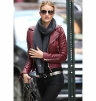 Ladies Women Brando Burgandy Leather Motorcycle Slim Fit Short Body Jacket