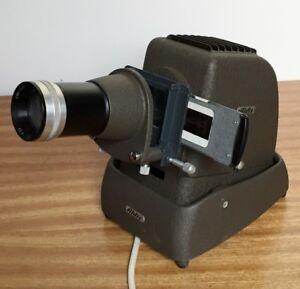 VTG Slide Projector Aldis 35mm pointer &Spare lamp-Working Cast Iron Art Table