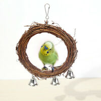 bird parrot rattan swing ring hanging pet parakeet budgie cockatiel cage toy SK