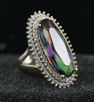 925 Sterling Silver Handmade Antique Turkish Mystic Topaz Ladies Ring Size 7-9
