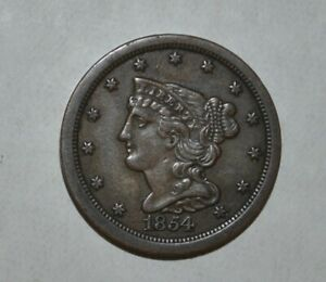 1854 1/2C Braided Hair Half Cent 6302