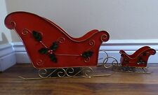 """Lot/2 Red Metal Sleighs 17"""" 7"""" Holly Centerpieces Candle Holders Christmas Decor"""