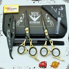 Professional Barber Hair Cutting Thinning Scissors Shears Set Gold/Black 6.5''