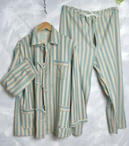 VTG FRENCH FLANNEL Men L/XL PAJAMAS SHIRT PANT SUIT Workwear Hobo SELVAGE Chore