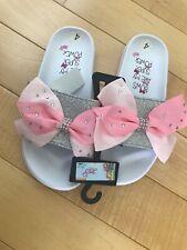 JoJo Siwa White Sliver Pink Bow Rhinestone 🎀 Slides Sandals Shoes Girls Size 4