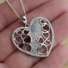 Solid 925 Sterling Silver Large Heart Pendant Necklace Jewellery 30 x 33mm Boxed