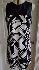 Ralph Lauren Faux-Leather-Trimmed Jersey Dress Size 16