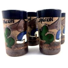 Cancun Mexico Shot Glasses set of 4 - Hand Painted Clay Pottery Stoneware