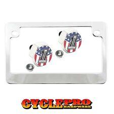 Chrome Metal Motorcycle License Plate Frame Hex Tag Bolt Kit - USA SKULL NO 1 B