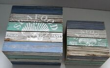 Set of 2 Ornamental Wooden Trinket Boxes Shabby Chic Beach Bathroom Nautical