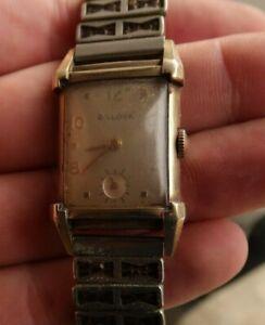 RARE Vintage Antique Bulova Gold Filled Men's Wind Up Watch Wristwatch LOOK NR