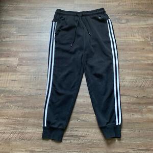 Adidas Women's Black Three White Stripe Sweatpant Jogger Size Small