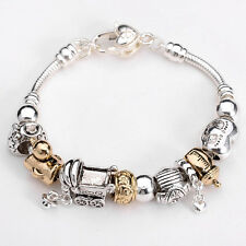 925Sterling Solid Silver European Murano Glass Beads charms Bracelet XB86