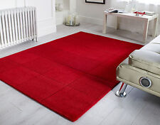 Flair Rugs 100 Wool Squares Design Floor Rug in Red Colour - 75x150cm