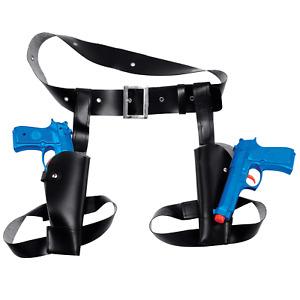 Twin Waist Holster & Toy Plastic Guns Fancy Dress Lara Croft Cowboy FBI Hunter