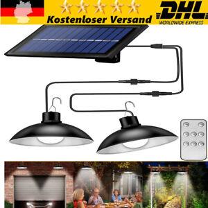 2er 30 LED Solarbetriebene Pendelleuchte Industrie mit Fernbedienung Hängelampe