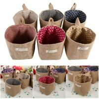 1PC Cotton Linen Door Wall Hanging Clothes Gadget Storage Bag Organizer Basket