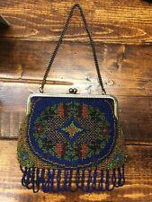 Vintage 20s bright cobalt blue floral beaded purse w/ gold-toned frame & tassels