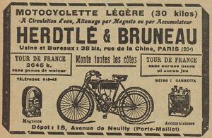 Y8273 Motocyclette Légére Herdtle & Bruneau - Advertising D'Epoca - 1909 Old To