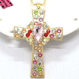 Hot Betsey Johnson Lovely Color Bling Pink Cross Crystal Pendant China Necklace