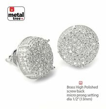Round Screw Back Stud Earrings Se 11403 S New Men's Fashion Hip Hop Rh Plated Xl