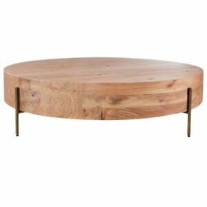 Modern Round Wood Coffee Table with Metal Leg Living Room Furniture Reception