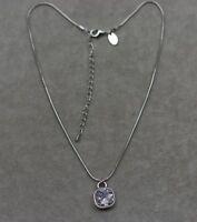 Lia sophia signed jewelry silver tone cute square cut crystal pendant necklace