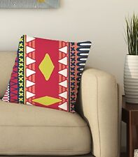 Red Abstract Pillow Case Cotton Square Pattern Decorative Throw Bed Home Décor