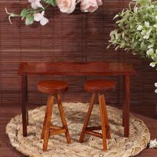 1:12 Dollhouse Miniature Wooden Bar Table Chair Set Doll House Restaurant De (