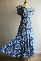 EAST ARTISAN with ANOHKI Blue Cotton Long Dress Indian Print Size 12