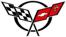"#z1021 (1) 4.5"" Chevrolet Chevy Corvette Rally Flag Decal Sticker Laminated"