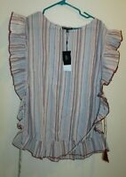 Collection by Bobeau Size XS Stripe Ruffle Sleeve Belted Blue Red 100% Cotton