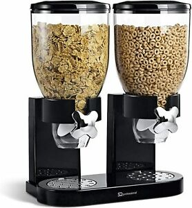 CEREAL DISPENSER DOUBLE SIZE DRY FOOD  KITCHEN STORAGE TWIN CONTAINER MACHINE UK