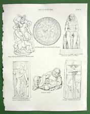 GODS Sculptures Persian Chinese Indian !! Antique Print A. REES