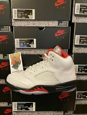 2020 Nike Air Jordan Retro 5 White Fire Red DA1911-102 Sz:4Y-15