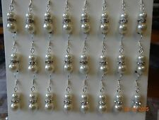 4 prs White Or Ivory Glass Pearl & Diamonte Rondelle Earrings Wedding Bride
