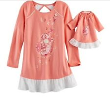 Real American Girl & Matching Doll Tenney Grant Coral Guitar Nightgown Small 5/6