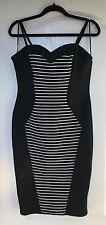 "NEW ""TOWIE Jessica"" Strappy Camille Bodycon Dress, Size 16, Black/White striped"