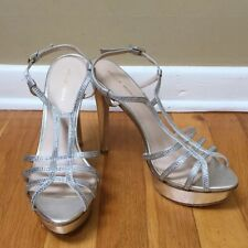 PELLE MODA Silver Leather Rhinestone Strappy Stiletto Platform Sandals Size 10M