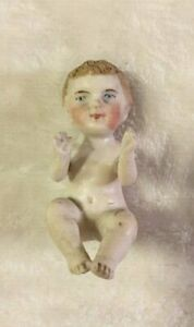 "Antique 2 1/2"" Miniature Bisque Baby Doll - Piano Baby - Kestner - Germany"