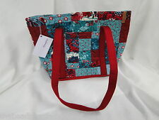 NEW DONNA SHARP ABILENE PATCH LEAH TOTE BAG HANDBAG Teal Cranberry White